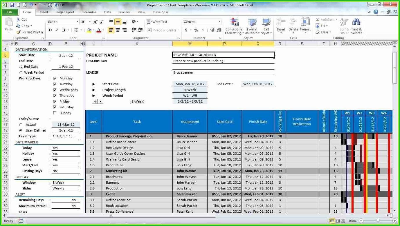 Project Management Excel Gantt Chart Template Free