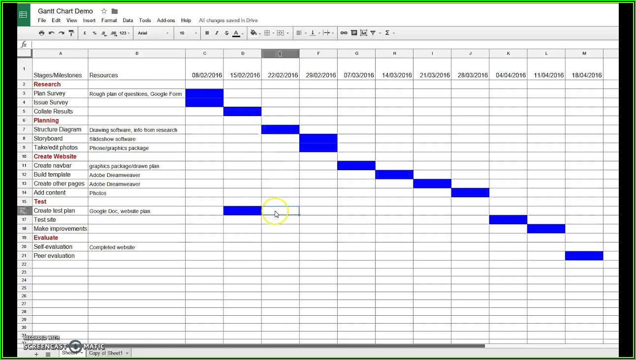 Project Plan Gantt Chart Excel Template