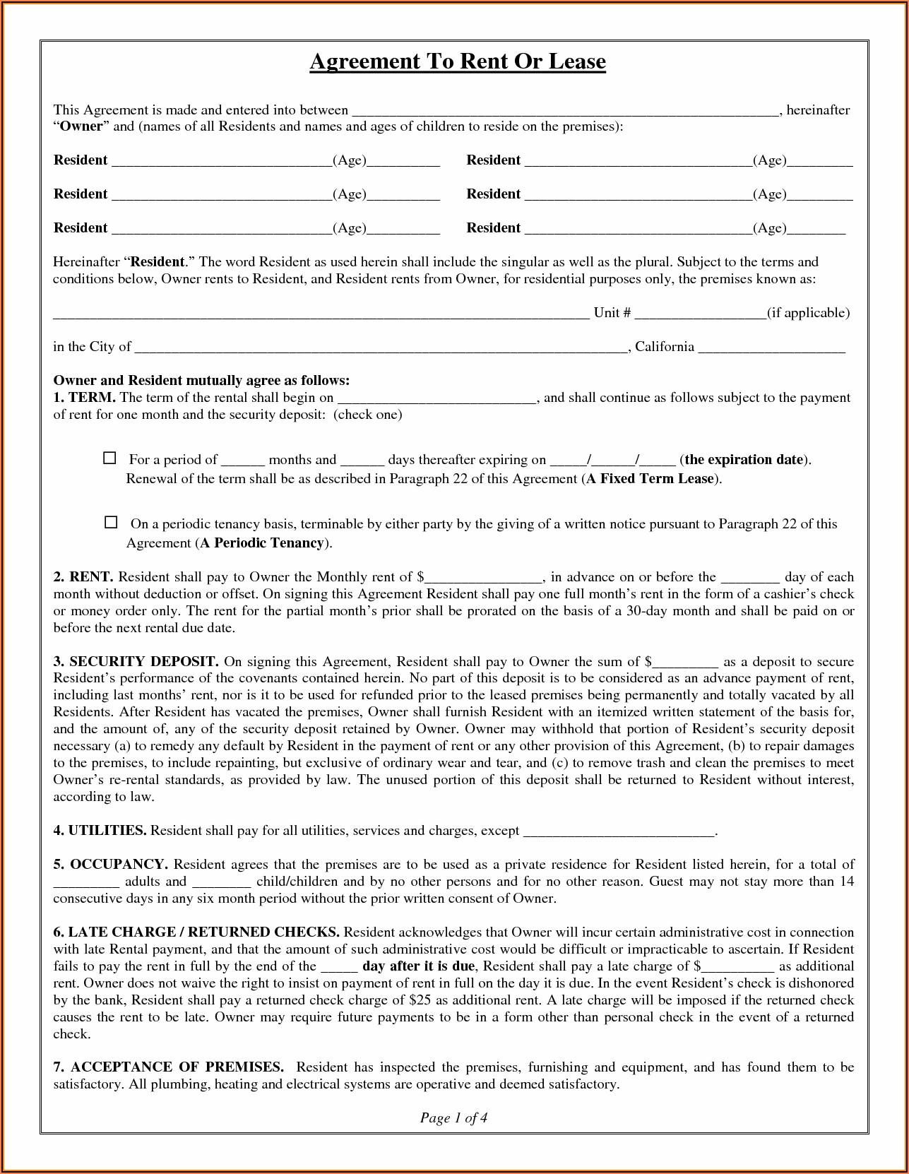 Property Lease Agreement Form Free