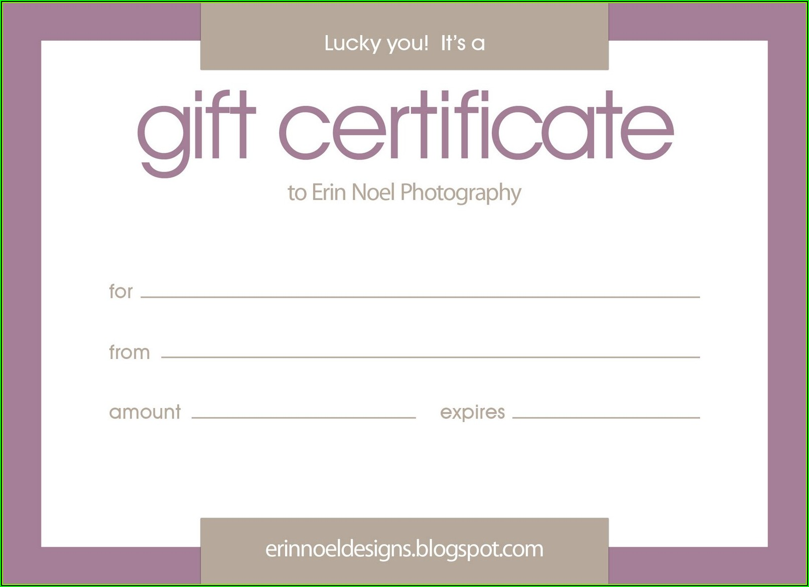 Purple Gift Certificate Template
