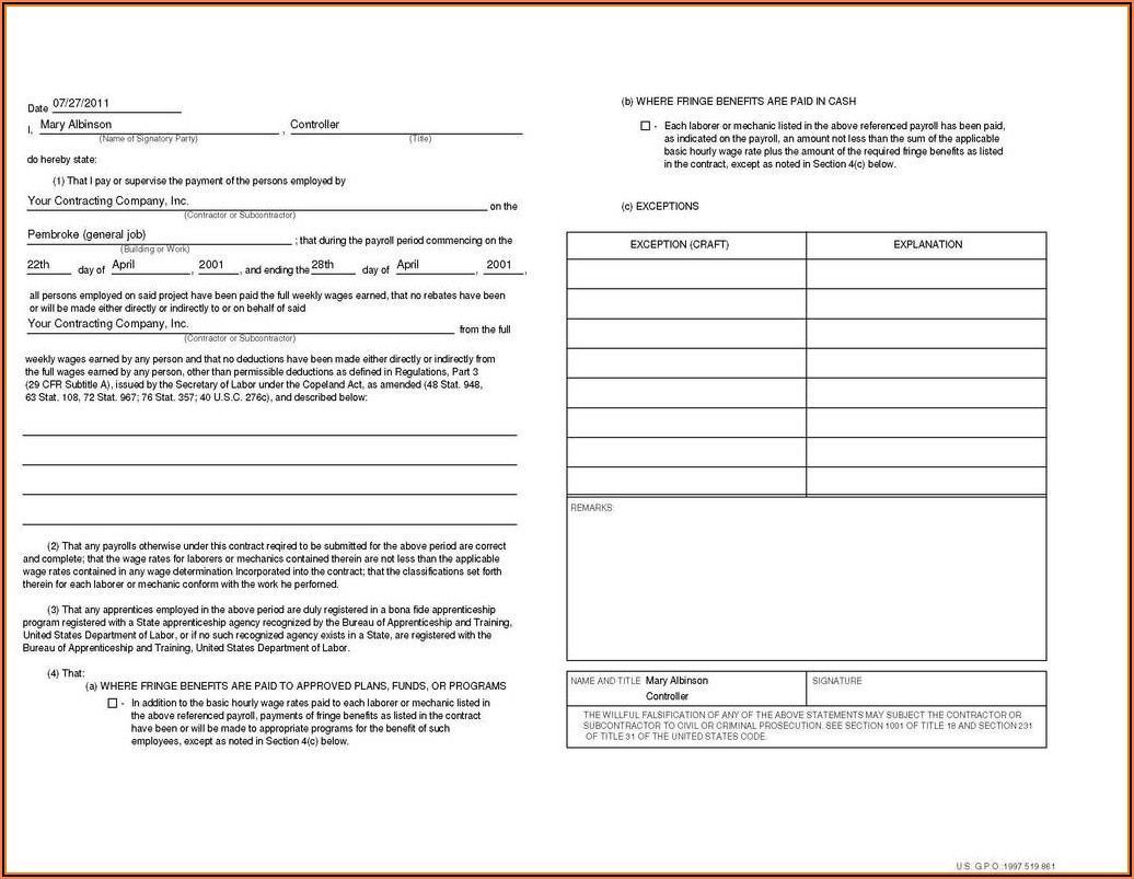 Quickbooks Certified Payroll Form Wh 347