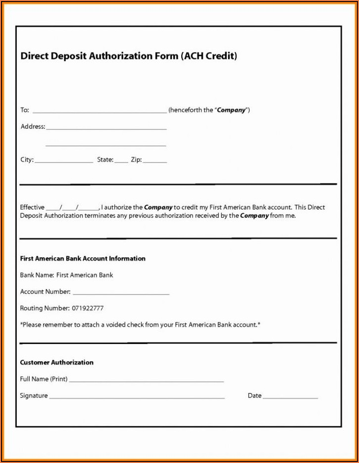 Quickbooks Direct Deposit Form For Vendors