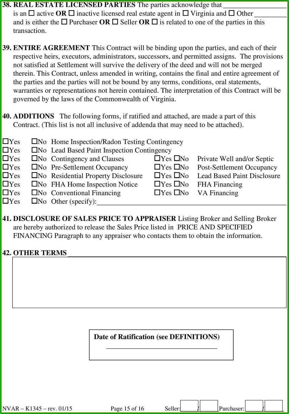 Real Estate Sales Contract Form Virginia