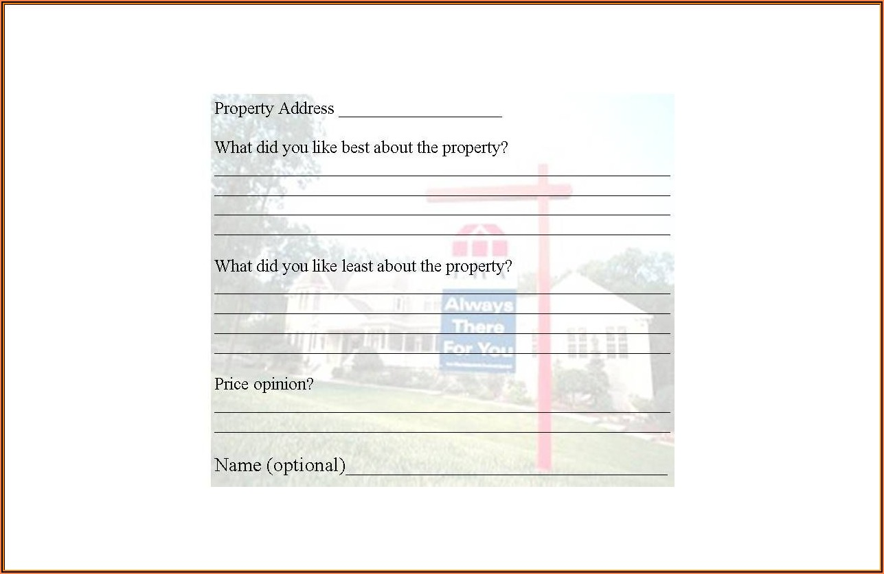 Realtor Open House Feedback Form
