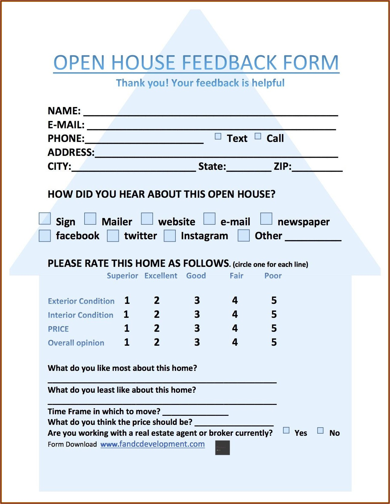 Realtor Showing Feedback Form