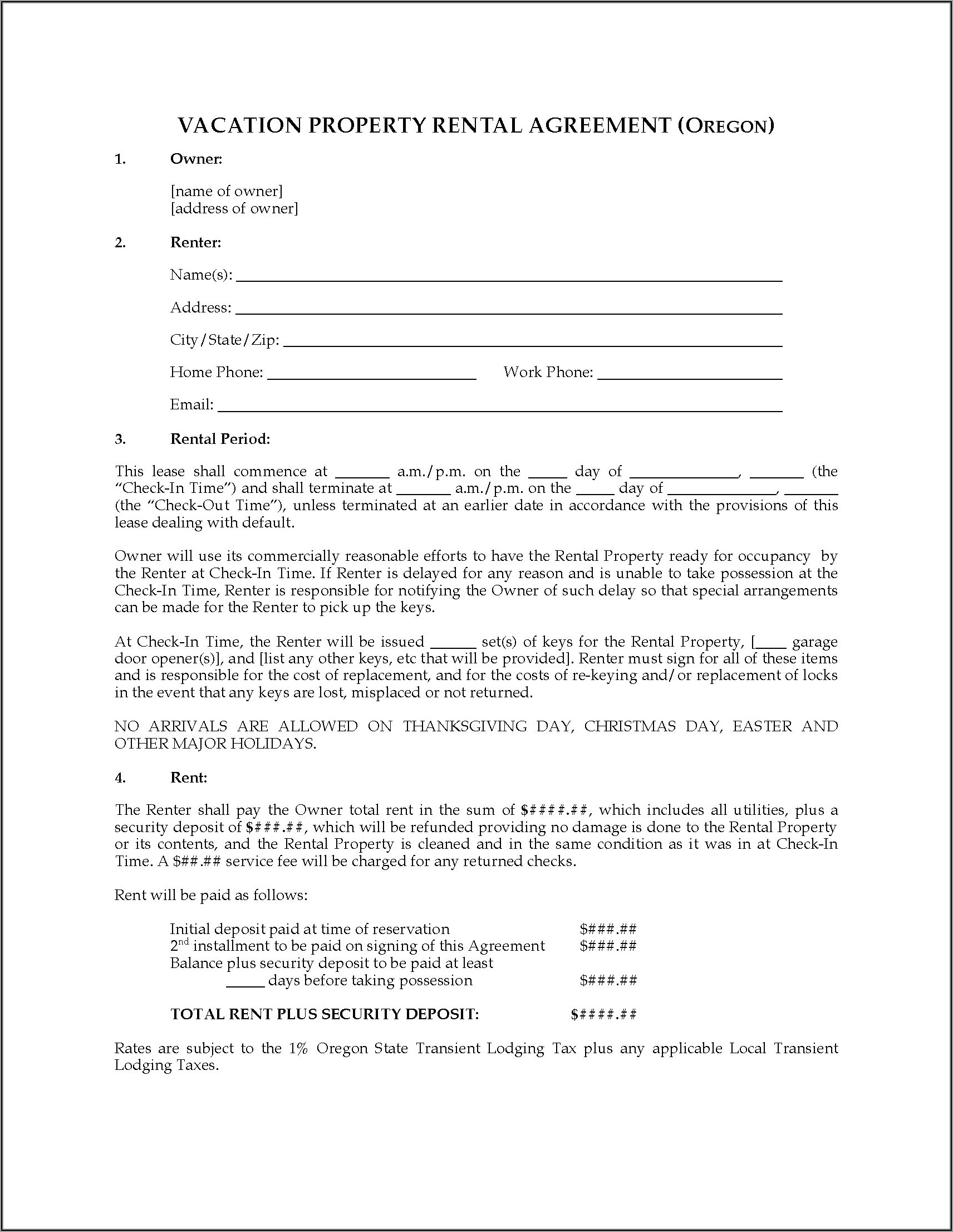 Rental Forms Oregon