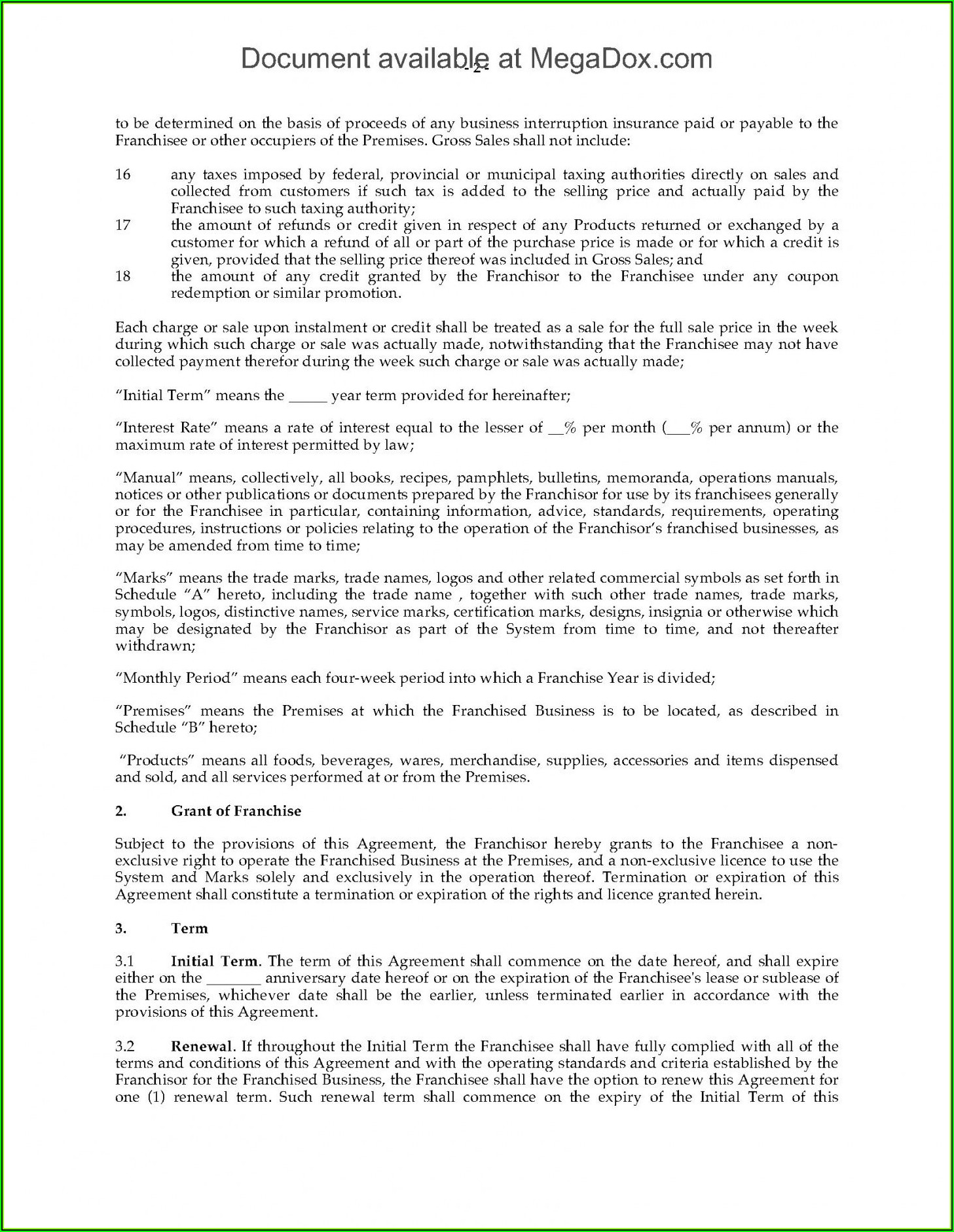 Restaurant Franchise Operations Manual Sample