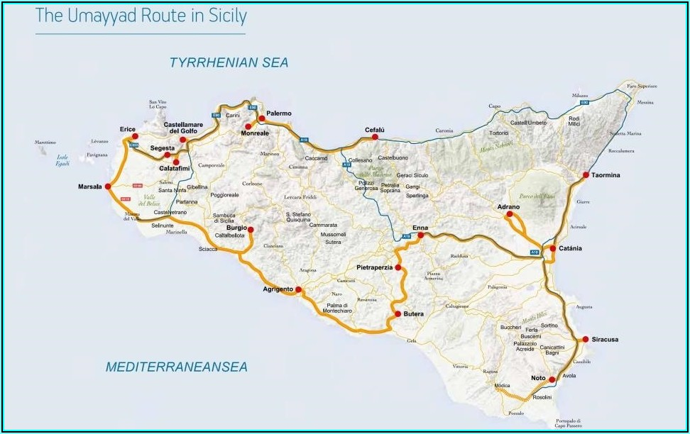 Road Map Of Eastern Sicily