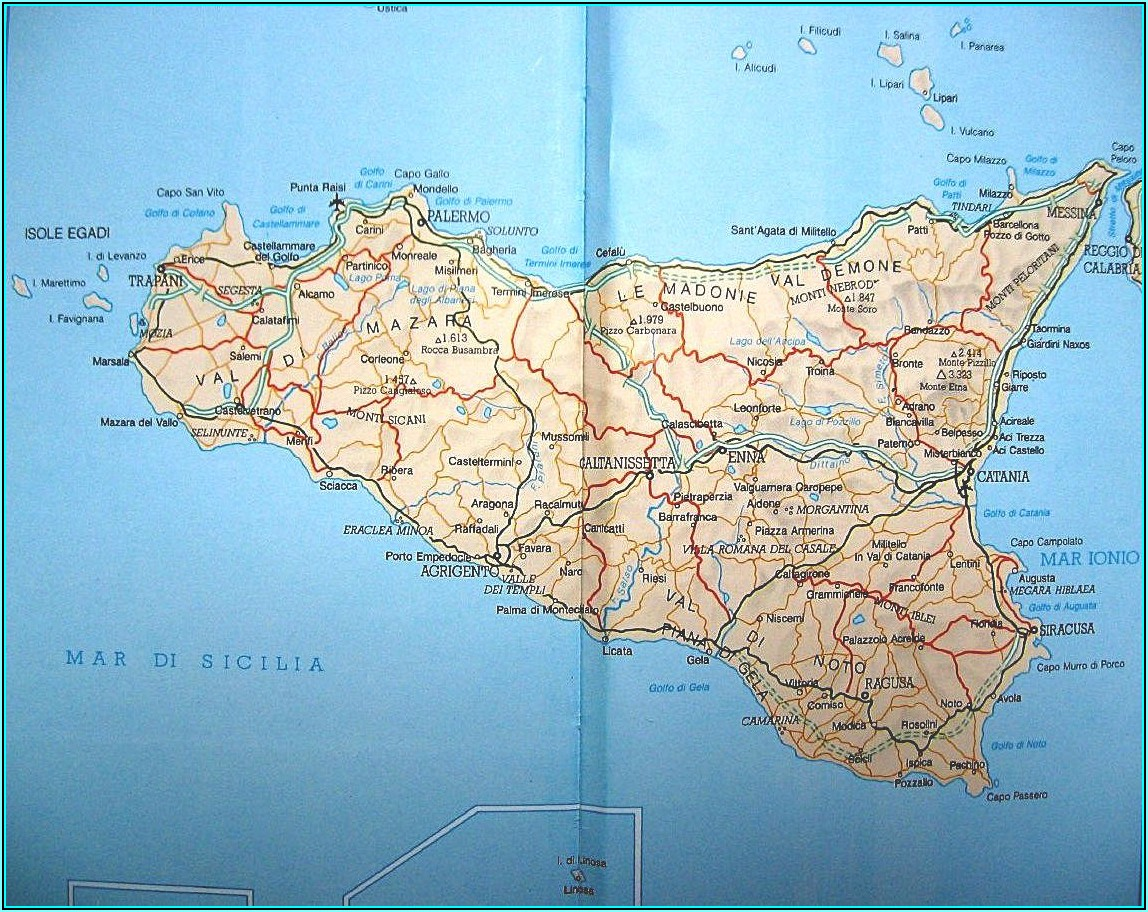 Road Map Of Sicily