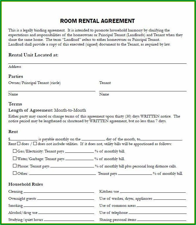 Room For Rent Agreement Template