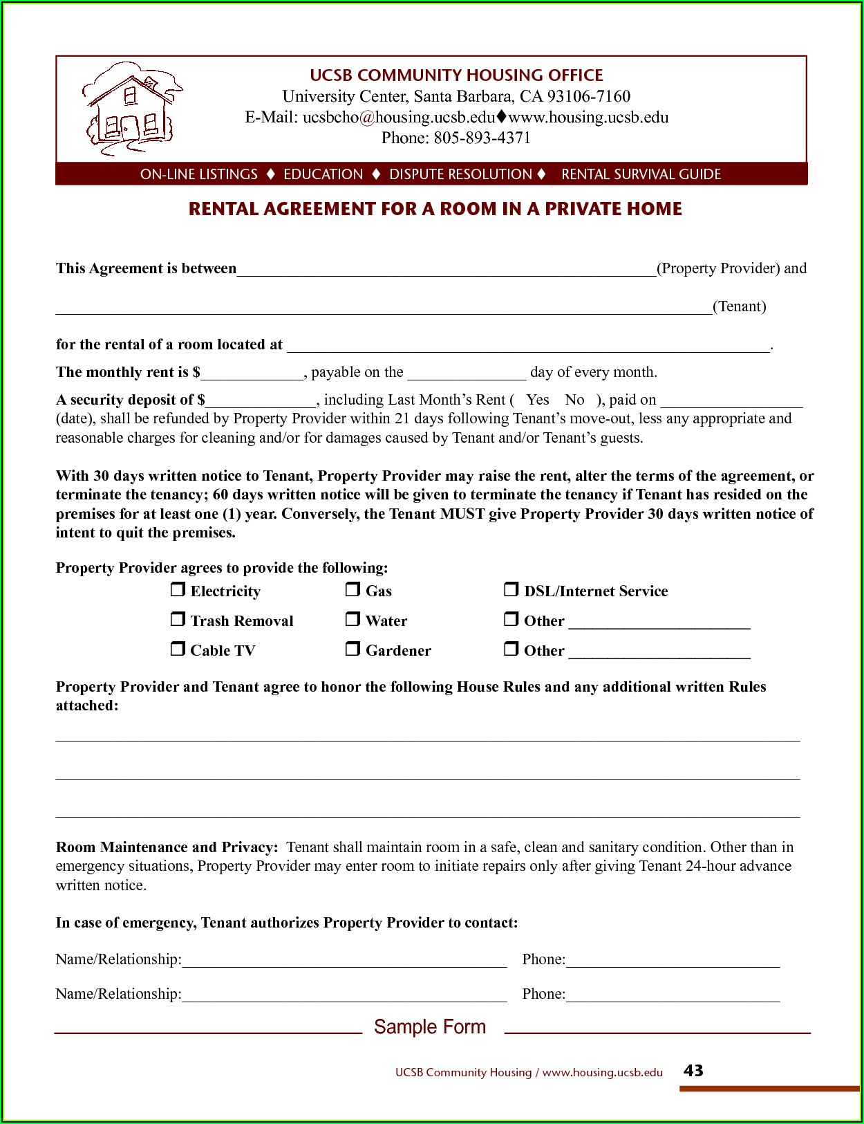 Room For Rent Rental Agreement Template
