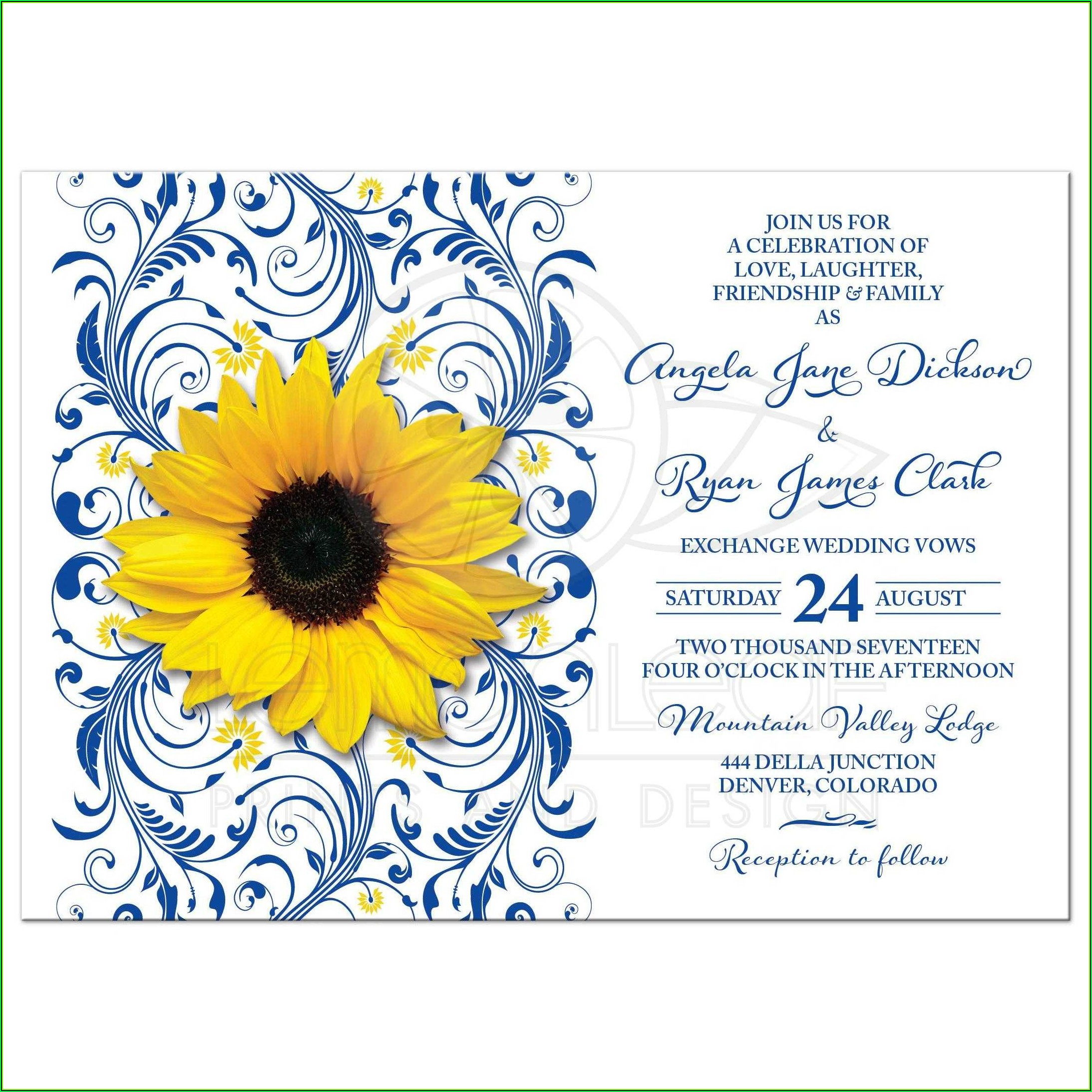 Royal Blue And Yellow Wedding Invitation Templates Free