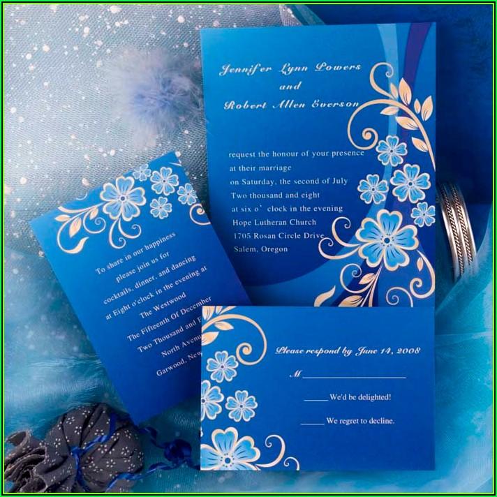 Royal Blue Wedding Invitation Templates Free