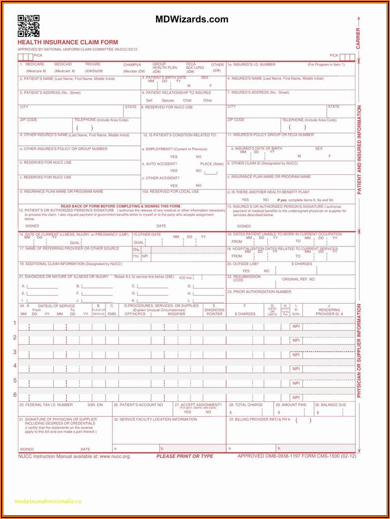 Sample Cms 1500 Claim Form