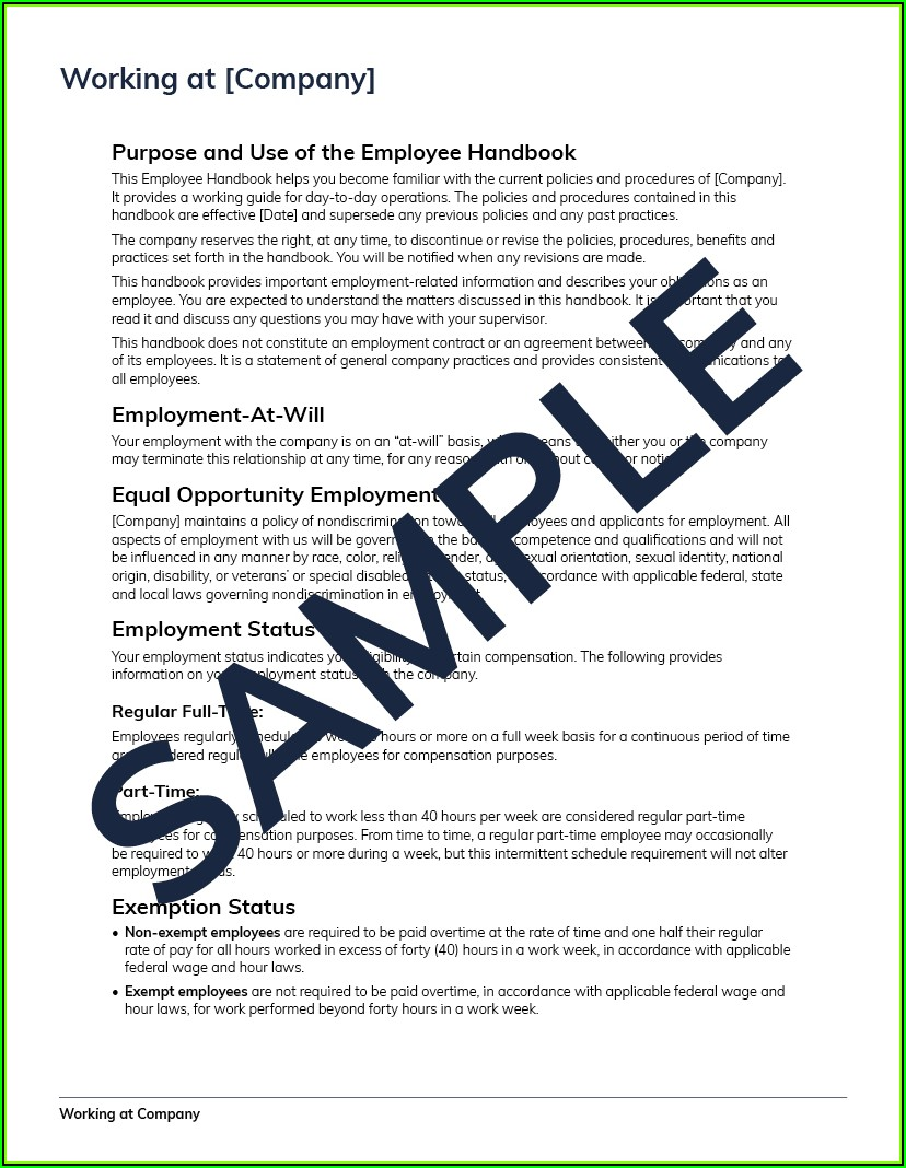 Sample Employee Handbook 2018