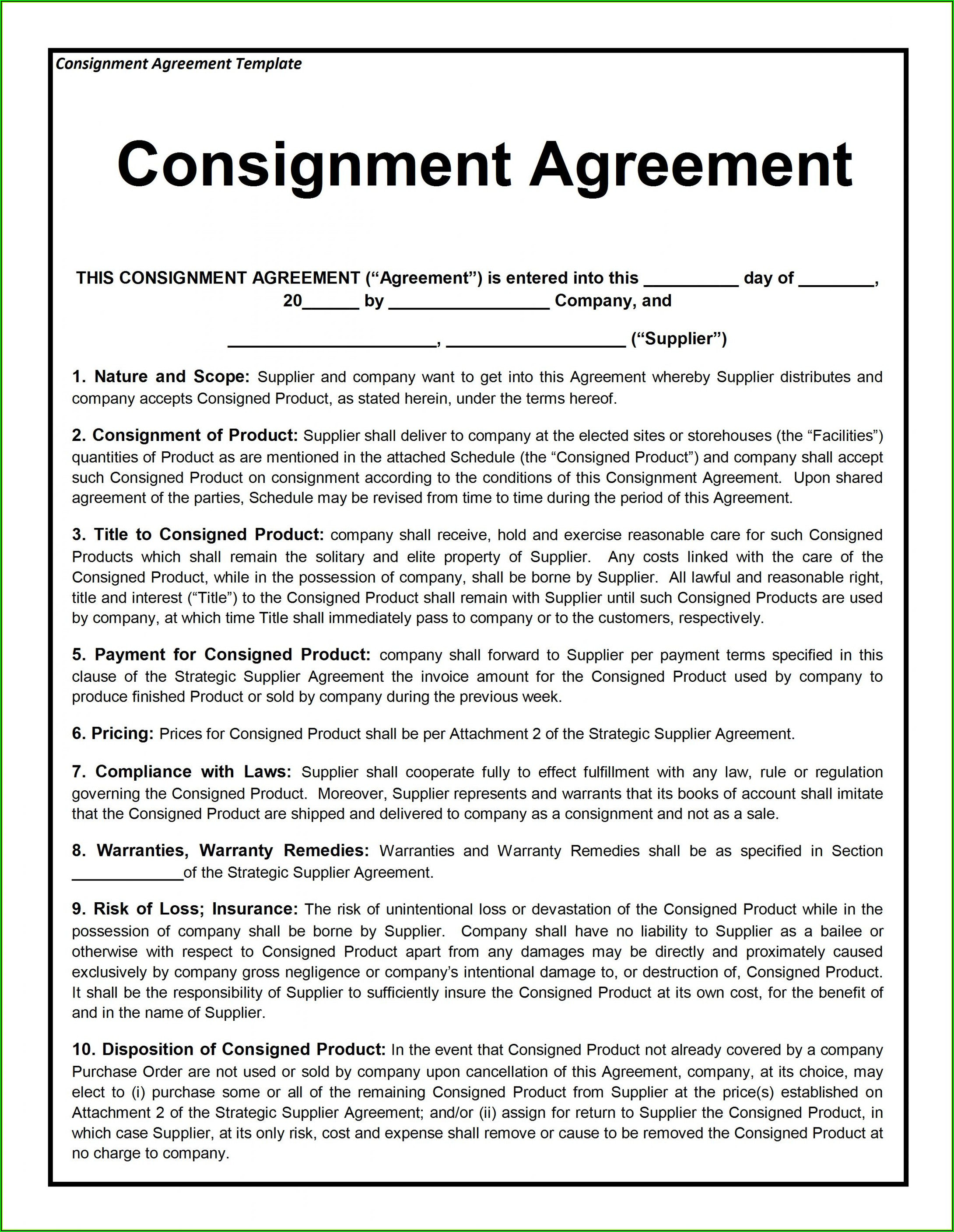 Sample Franchise Agreement Template