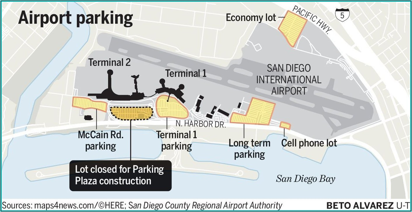 San Diego Airport Terminal 2 Parking Map