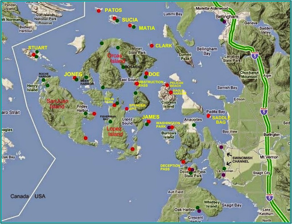 San Juan Islands Boating Map