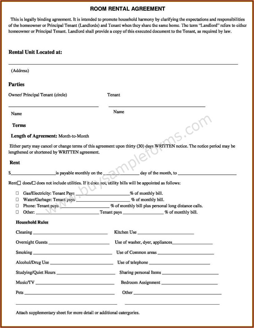 Simple House Rent Agreement Format In Word