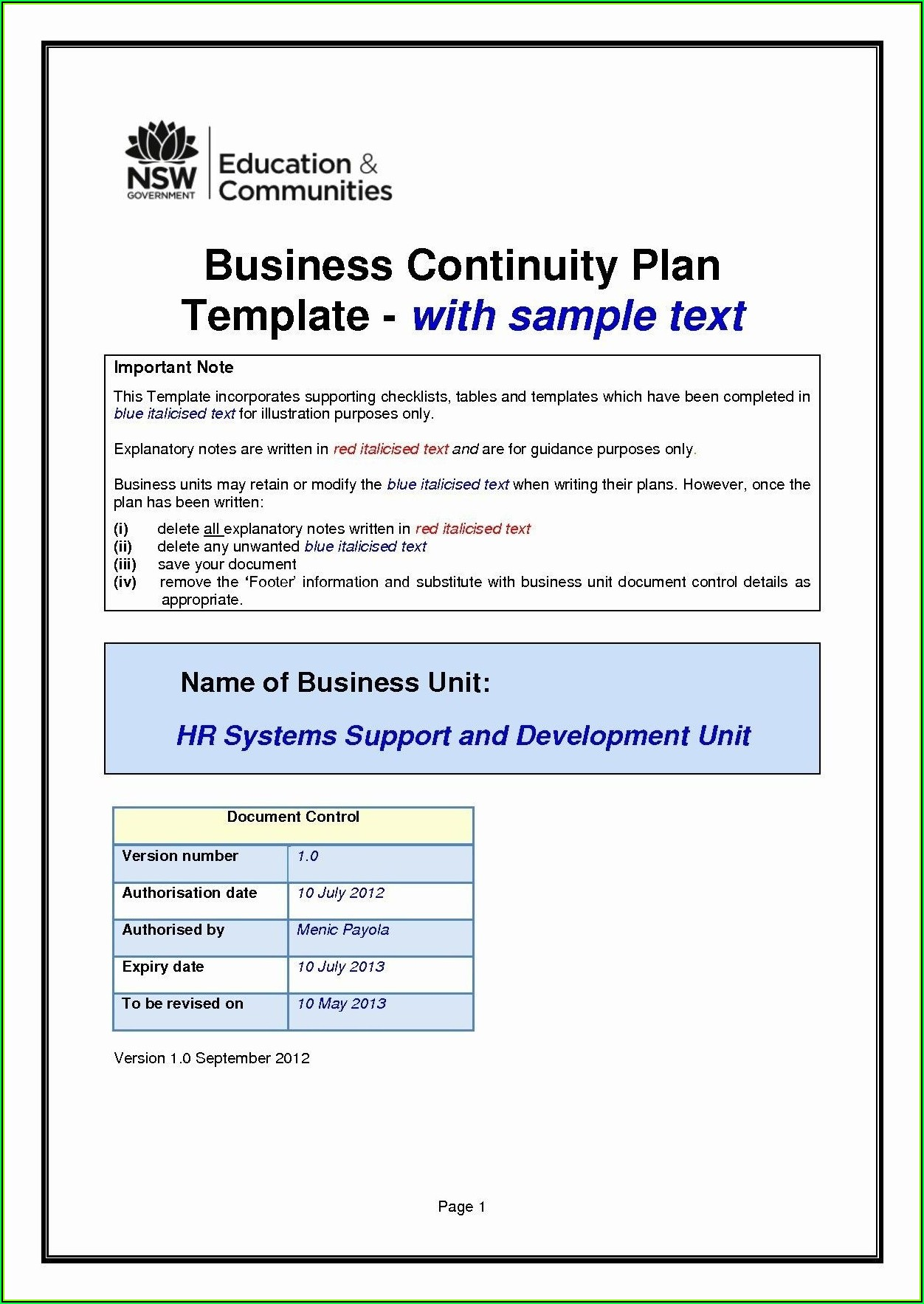 Simple Small Business Continuity Plan Template
