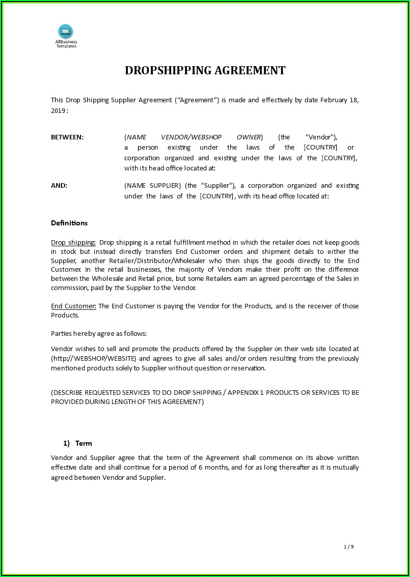 Simple Supply Agreement Template Free