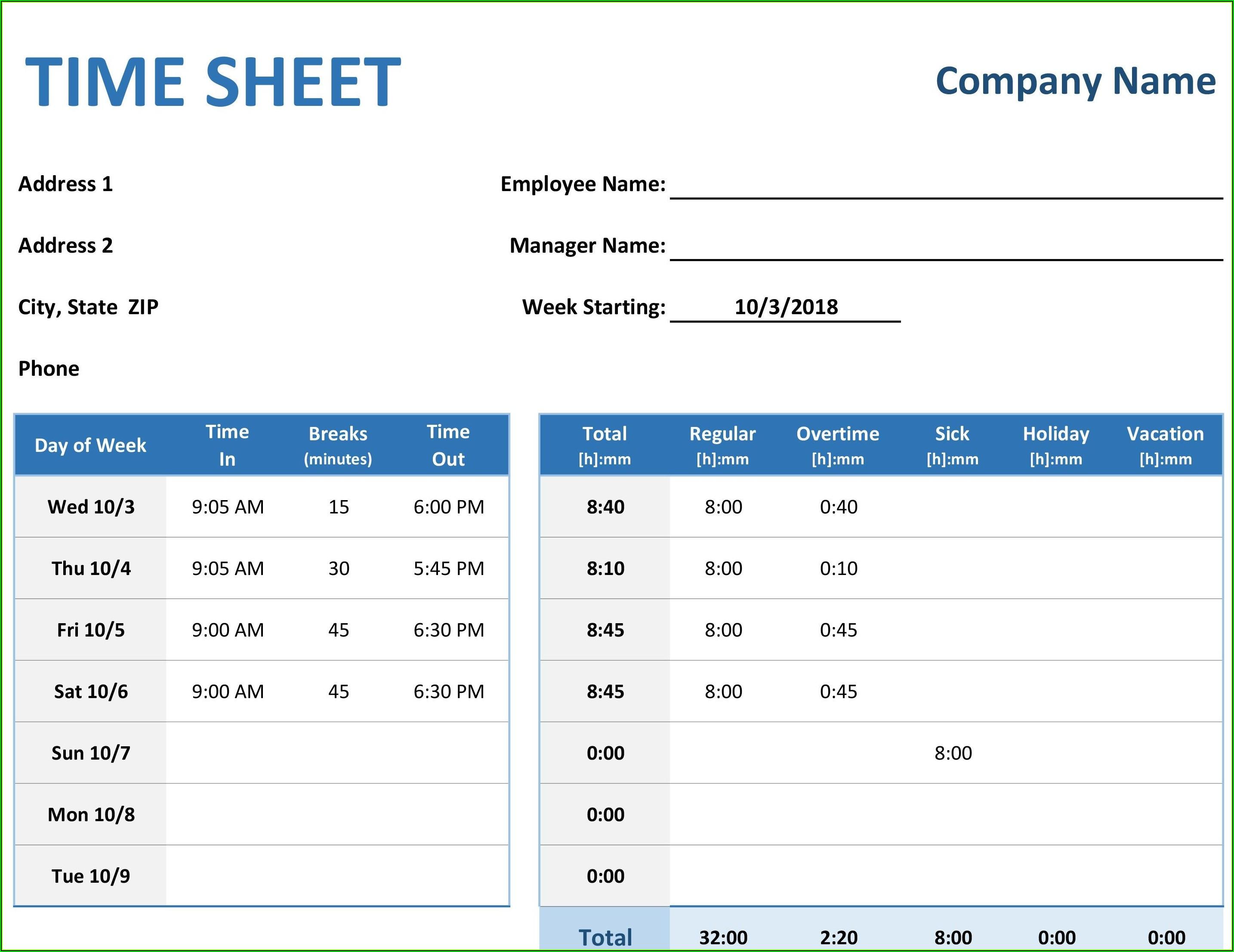 Simple Weekly Timesheet Template Excel