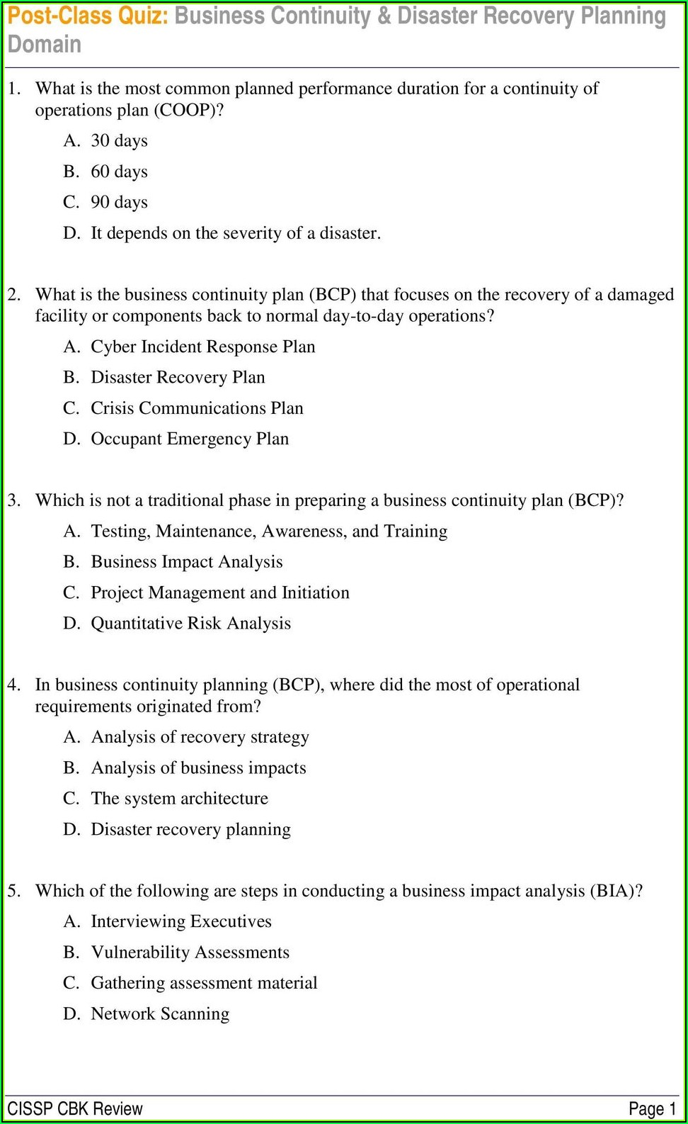 Small Business Continuity Plan Example