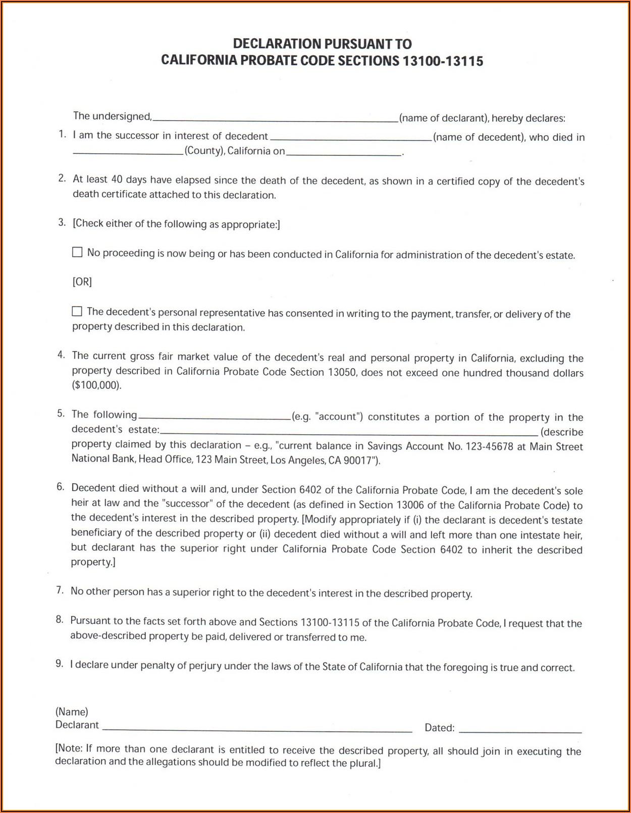 Small Estate Affidavit California Form 13100