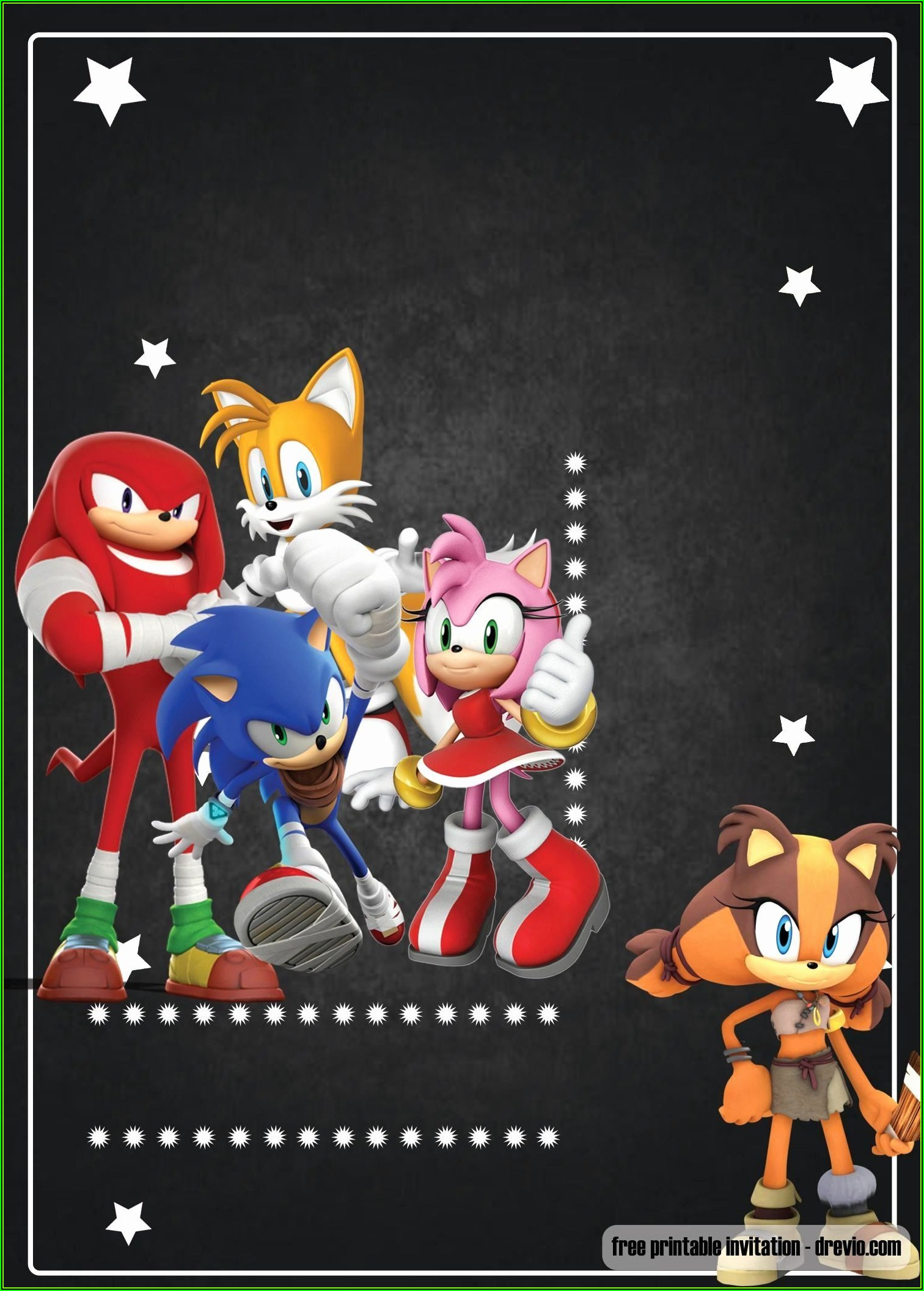 Sonic The Hedgehog Birthday Invitation Template