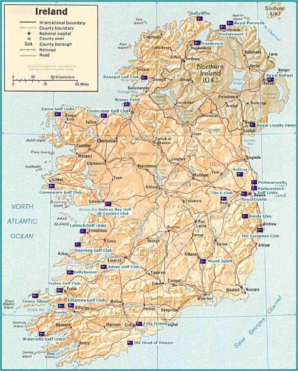 Southern Ireland Golf Courses Map