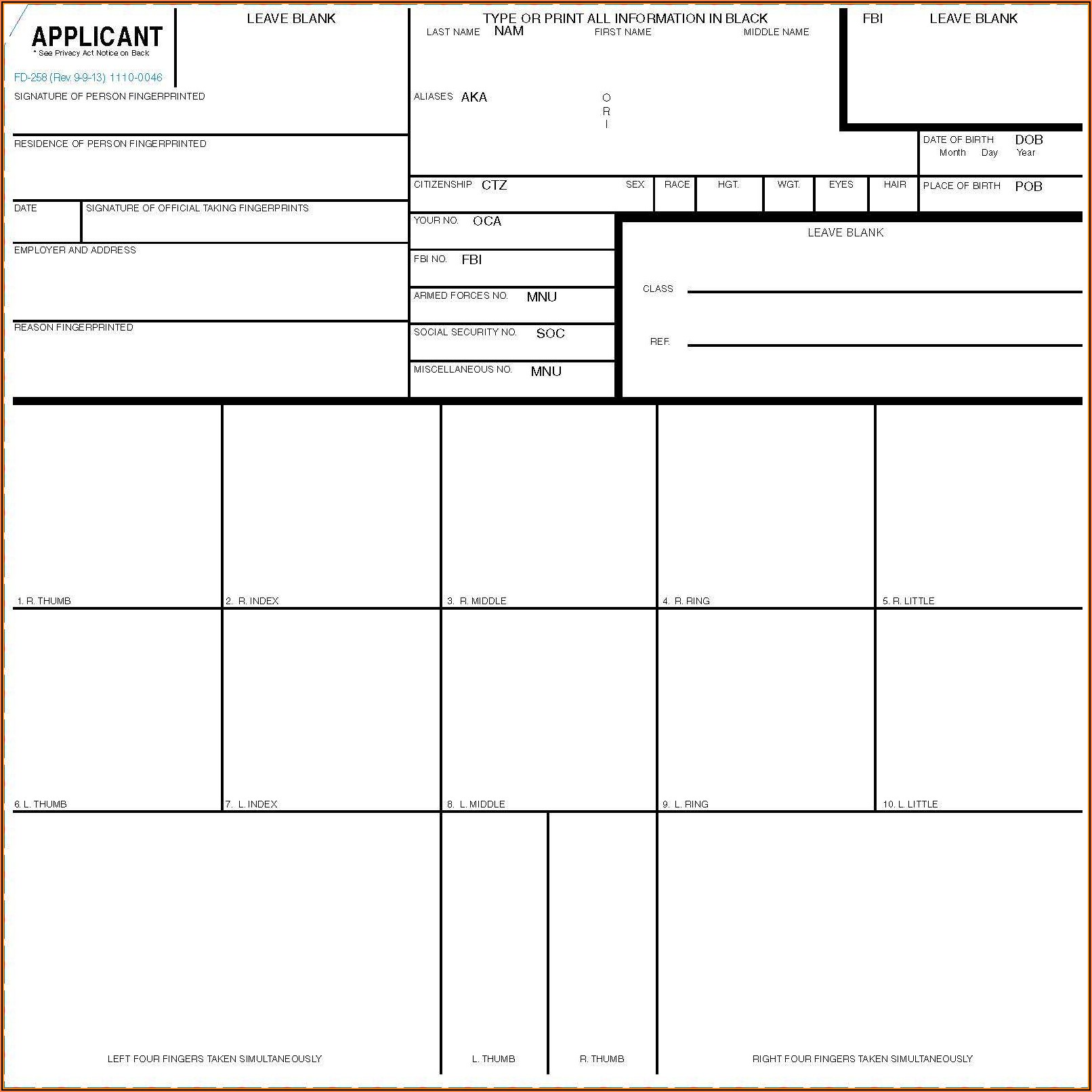 Standard Fingerprint Form (fd 258)
