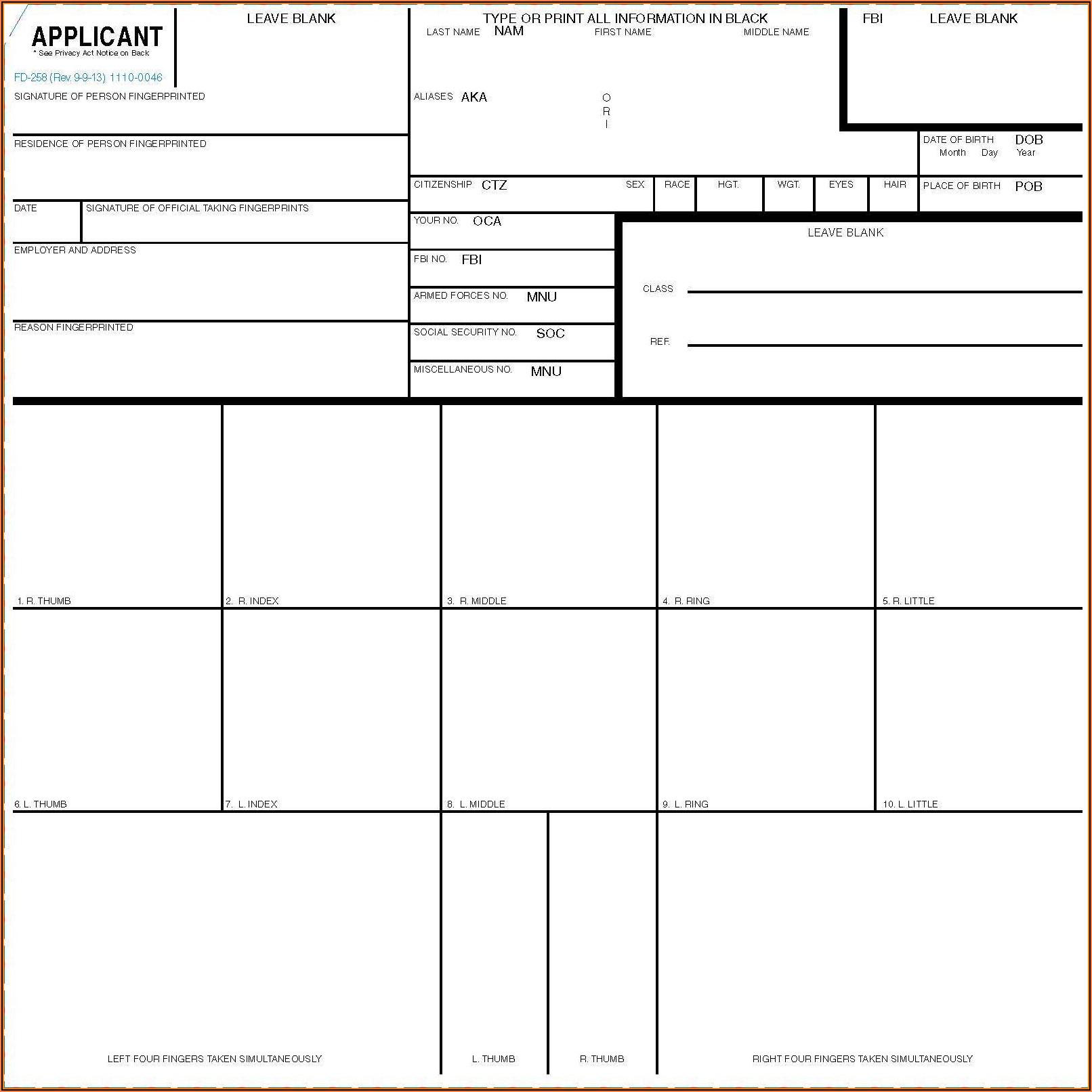 Standard Fingerprint Form (fd 258)
