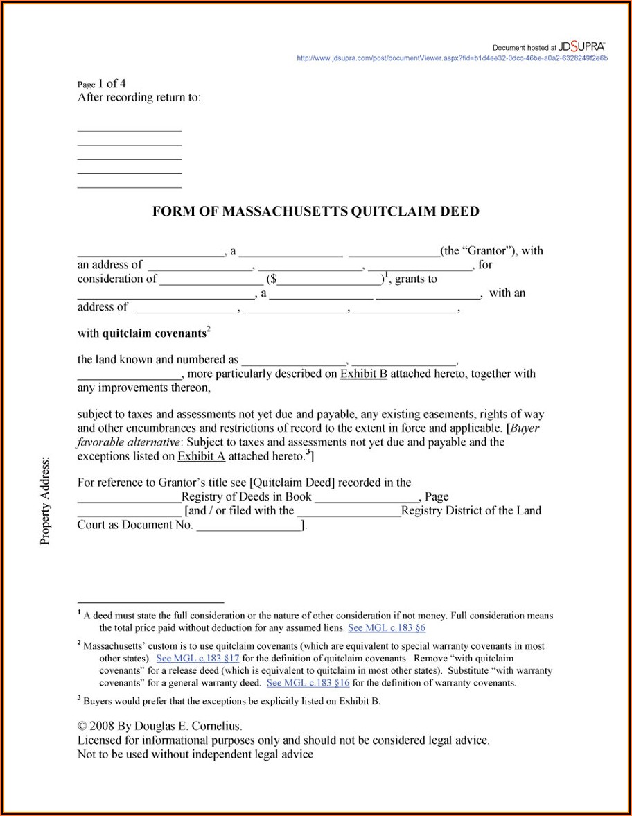 Standard Quit Claim Deed Form