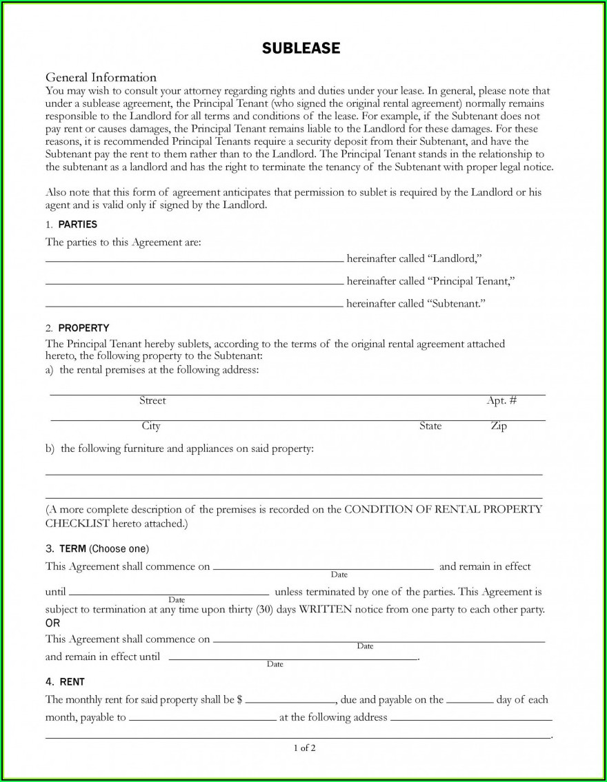 Sub Letting Tenancy Agreement Template