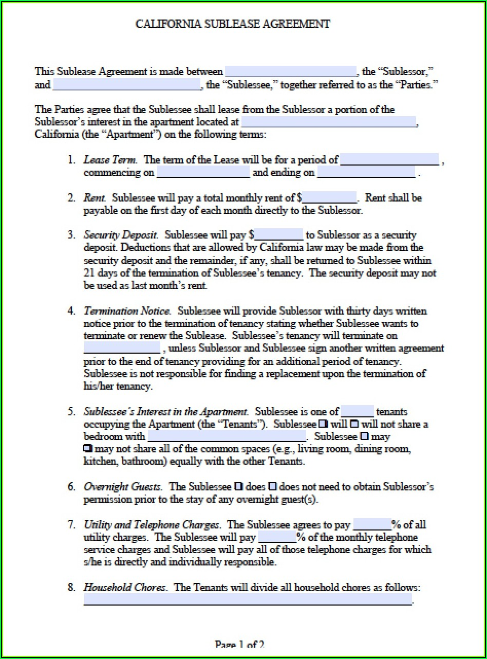 Sublet Lease Agreement Template California
