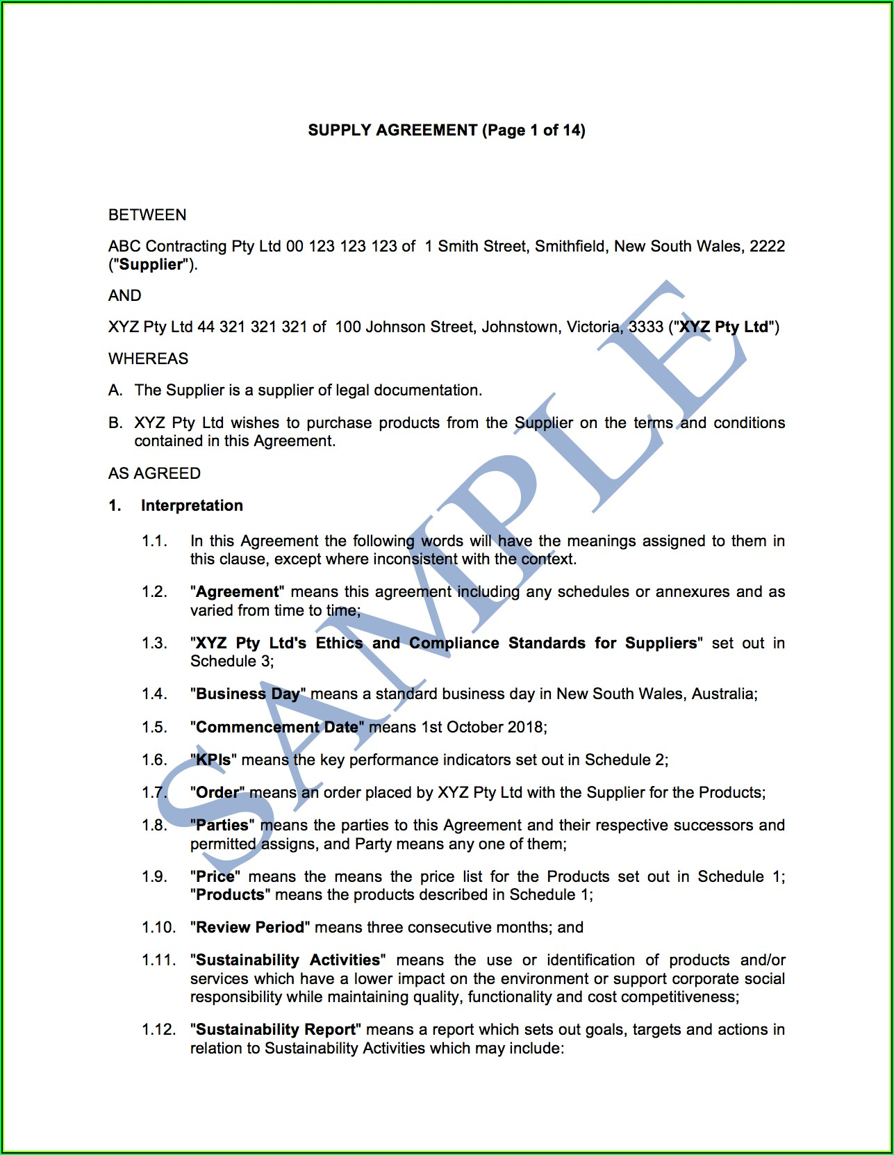 Supply Agreement Template Free Australia