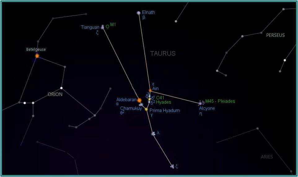 Taurus Constellation Star Map