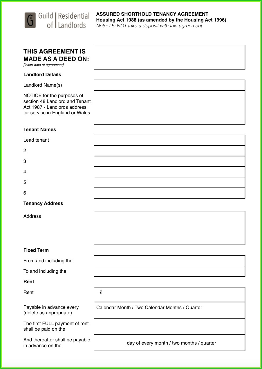 Tenancy Agreement Template Free Download Word
