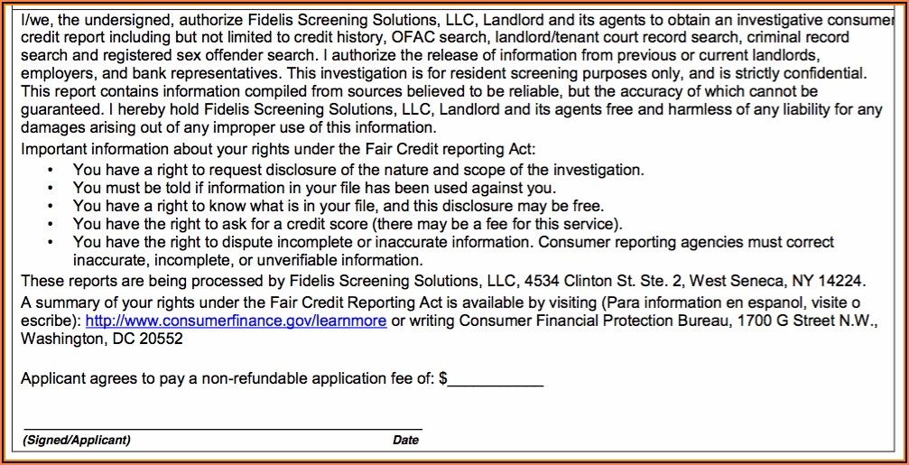 Tenant Credit And Background Check Authorization Form