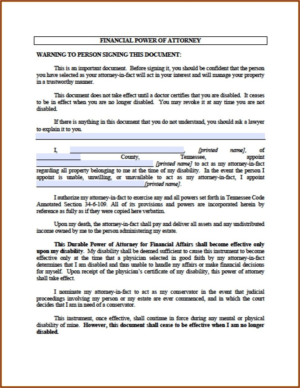 Tennessee Durable Power Of Attorney For Finances Form