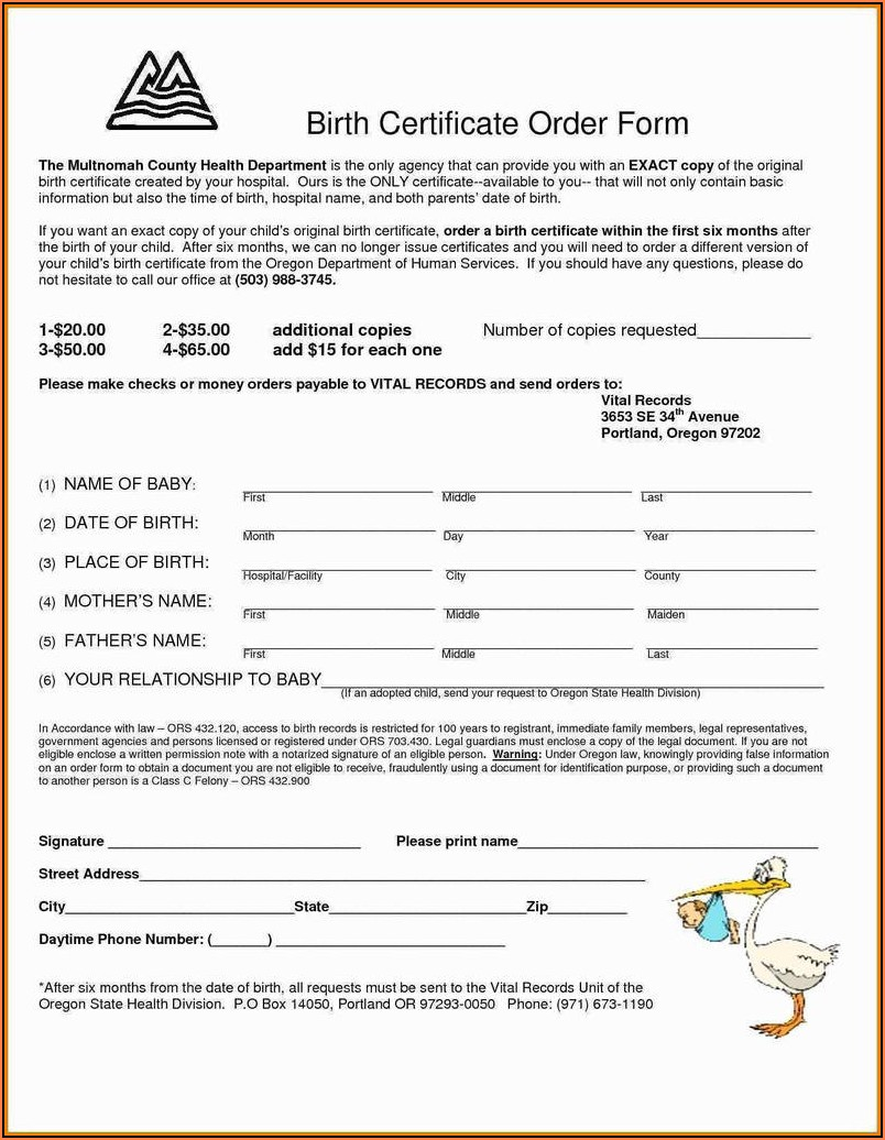 Texas Birth Certificate Request Form