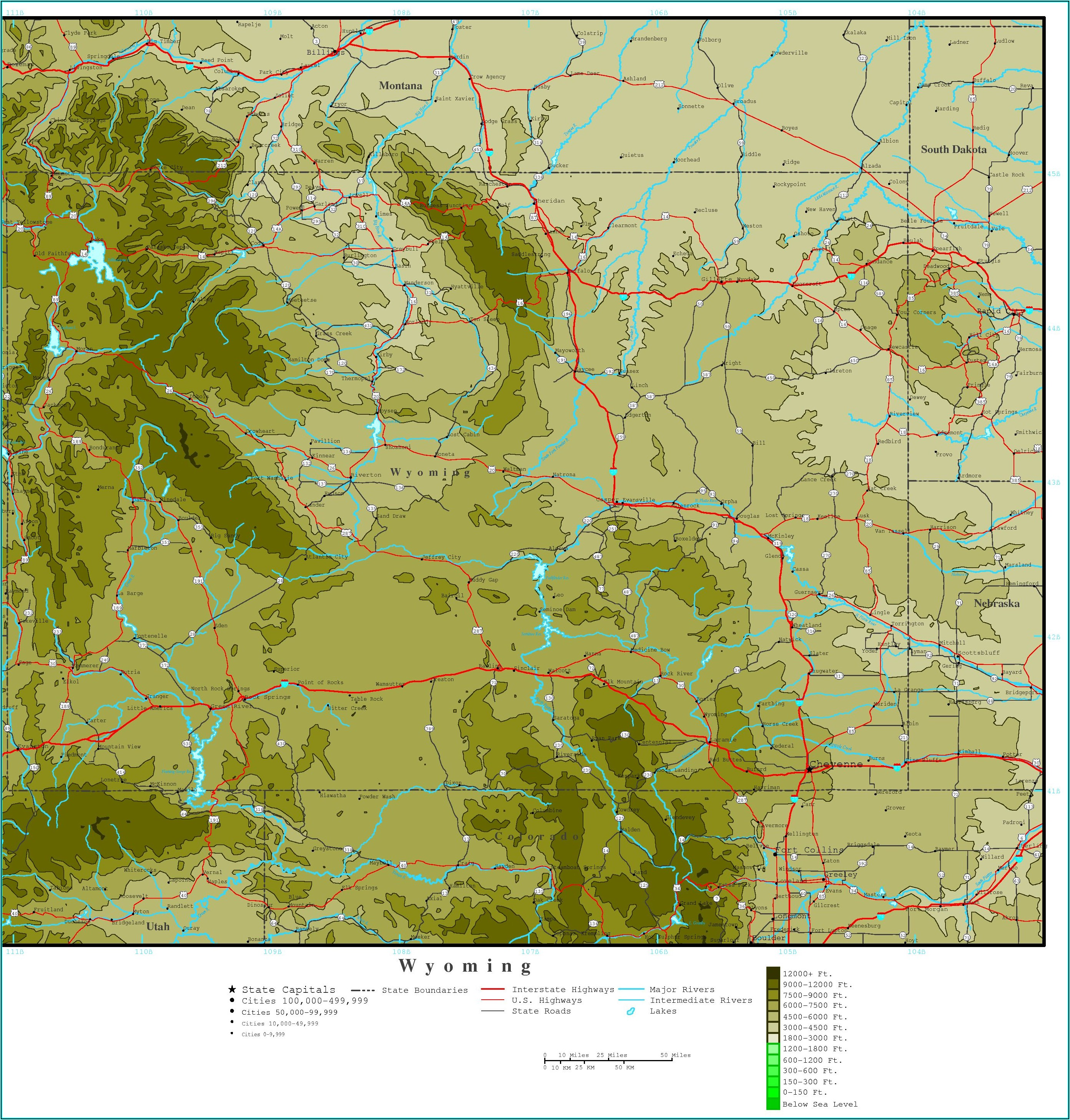 Topographic Map Of Montana And Wyoming