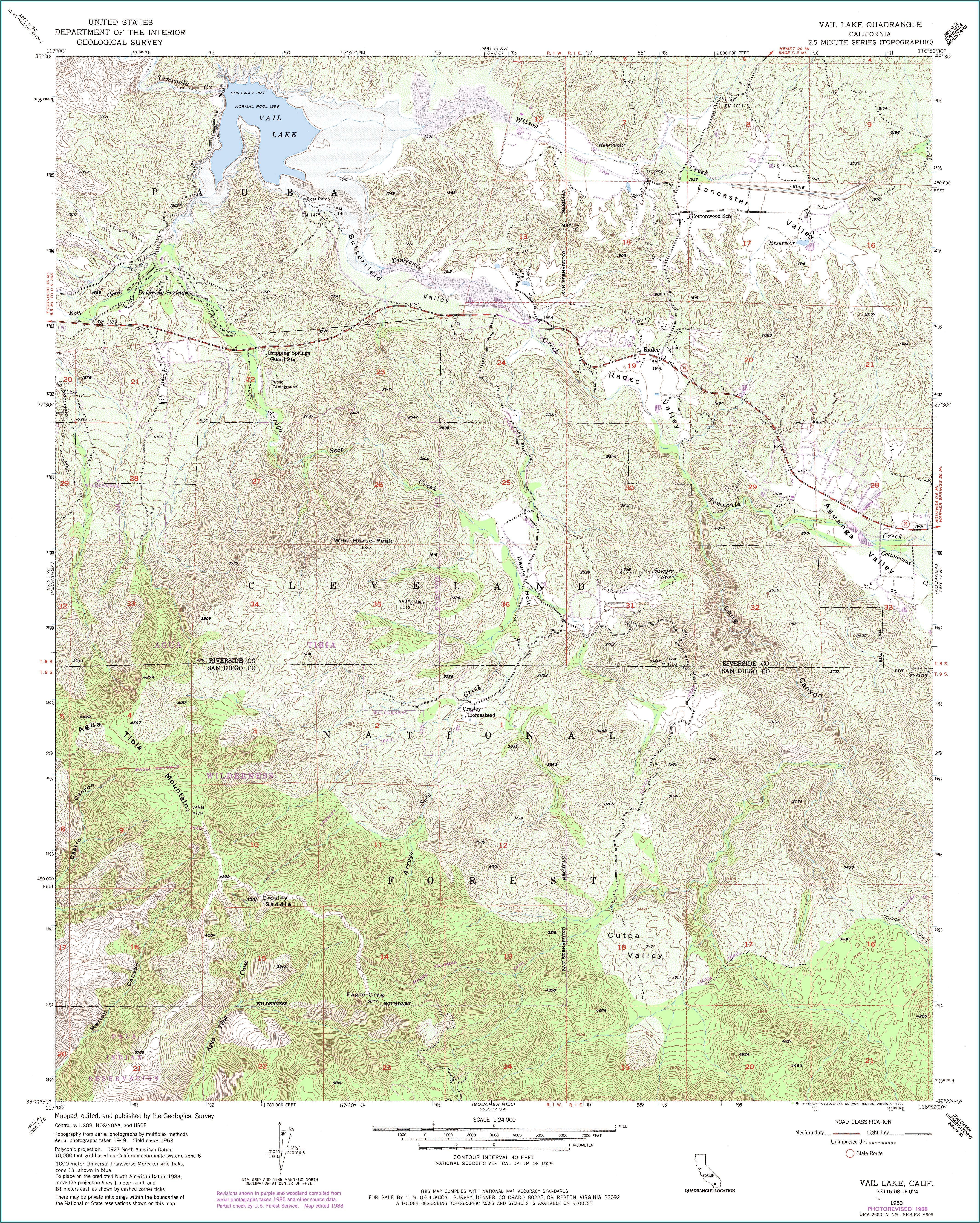 Topographic Maps Of San Diego County California