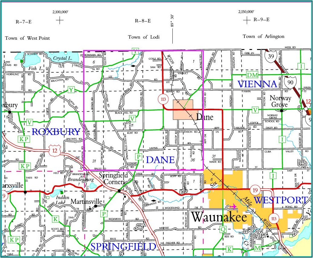 Township Map Of Dane County Wi
