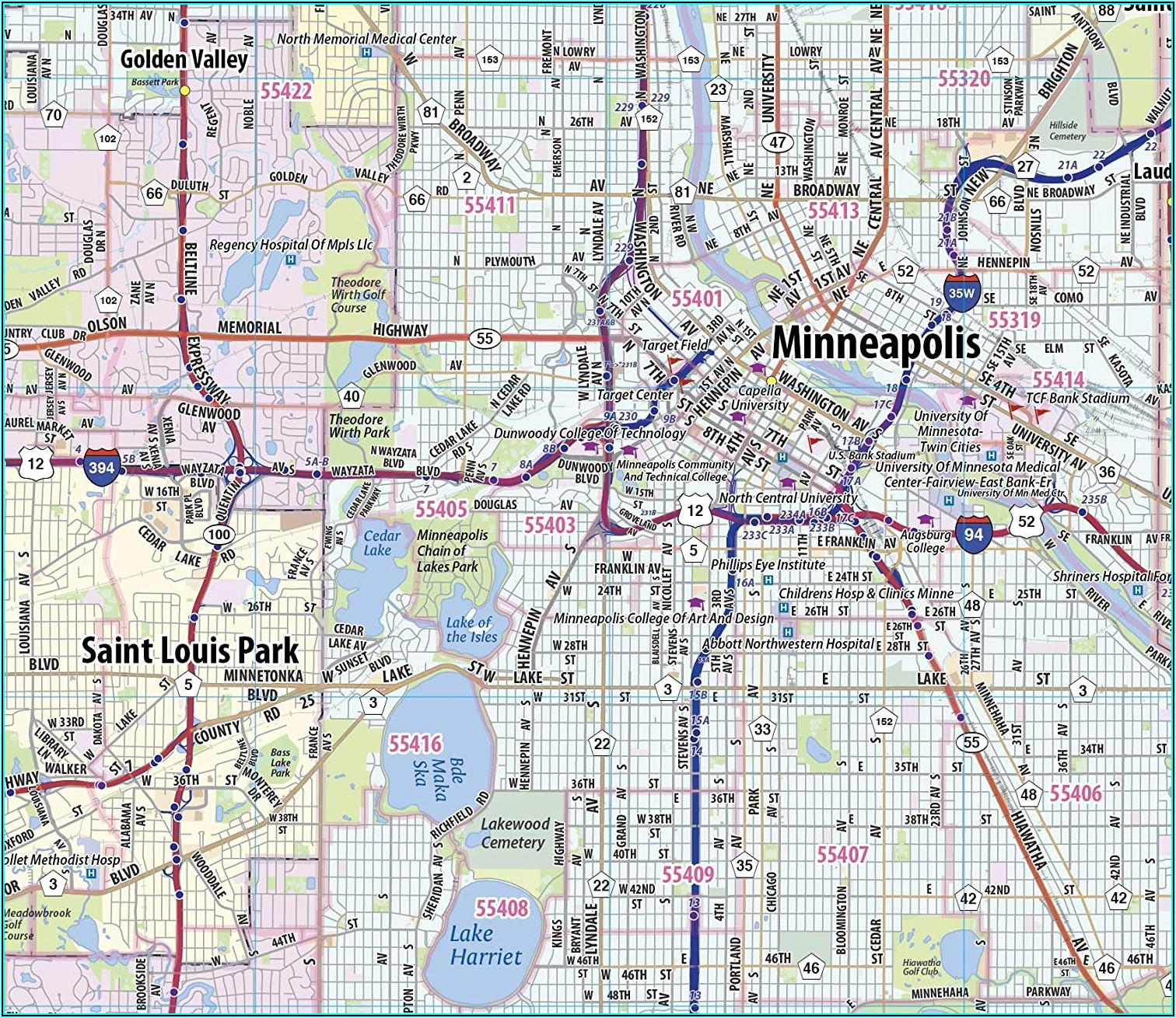 Twin Cities Wall Map