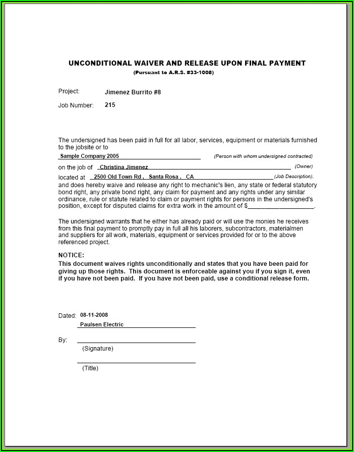 Unconditional Lien Waiver Form Illinois