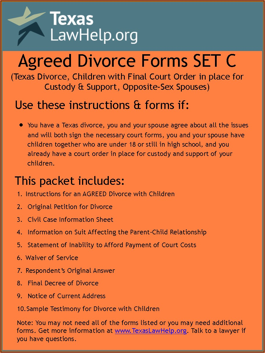 Uncontested Divorce Forms Harris County Texas