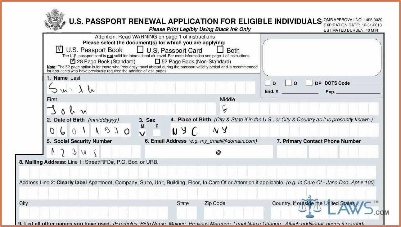 Us Passport Renewal Application Form Ds 82
