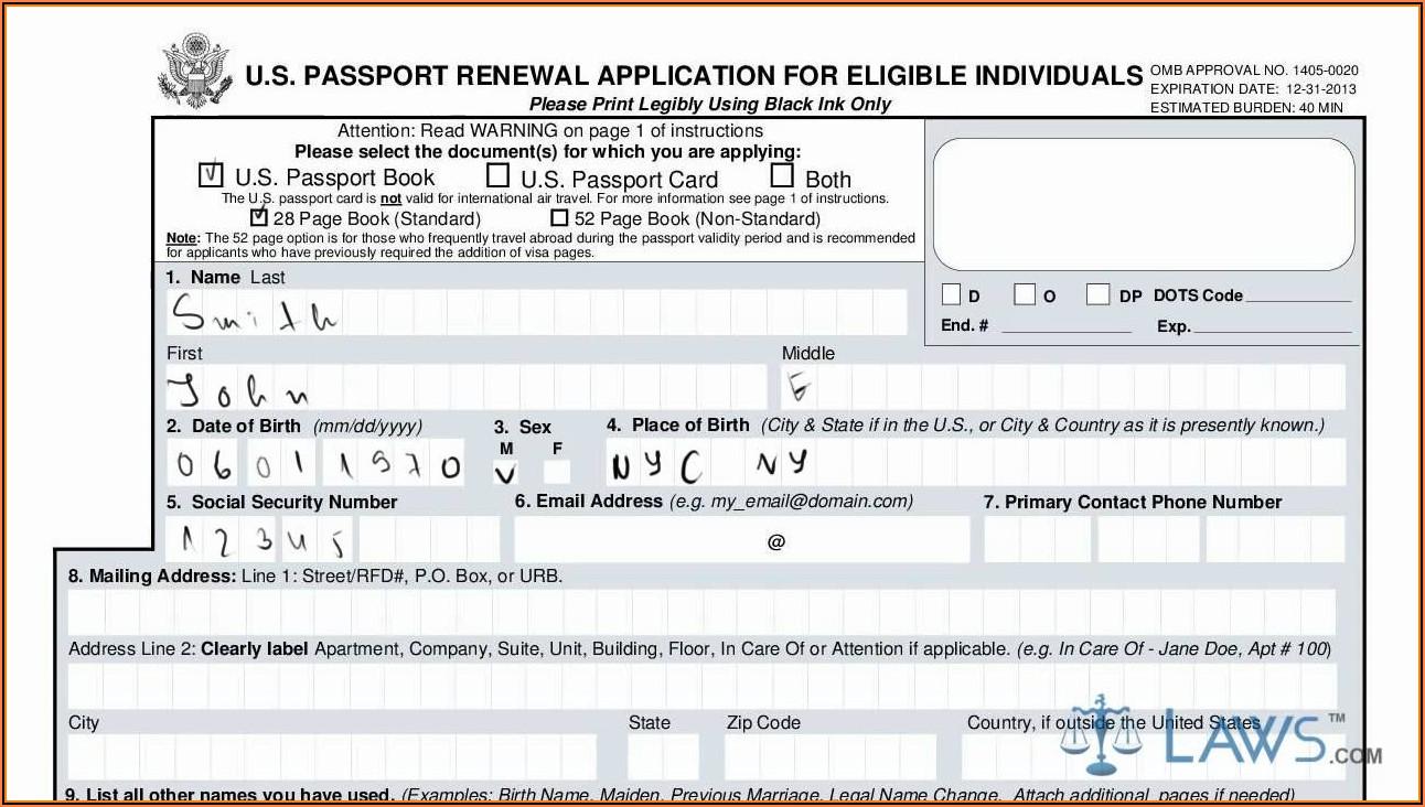 Us Passport Renewal Application Form Ds 82