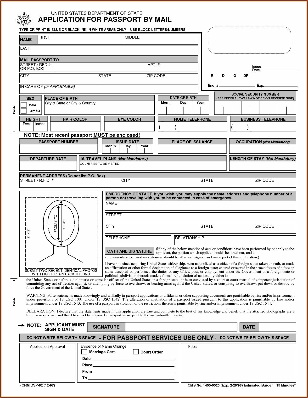 Us Passport Renewal Application Form Pdf Fillable